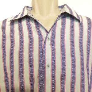 Robert Graham 2XL Mens Dress Shirt Blue Stripe